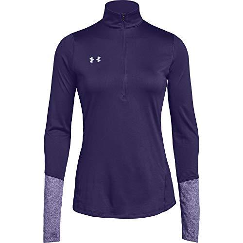 Under Armour Women's UA Locker 1/2 Zip Color Block Long Sleeve (Large, Purple)