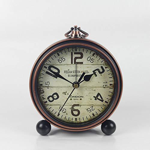 SMAQZ Relojes Retro Europeos - Retro Hierro Forjado Relojes Madera Grano 13.5 * 5 * 15Cm
