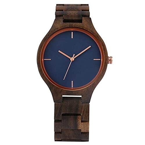 KUELXV Reloj de Pulsera de Madera Retro Pure All Walnut Reloj de Madera Simple Sin Palabra Reloj con Esfera Azul Hombre Deportes Relojes de Pulsera de Cuarzo con Banda de Madera Completa, Solo relo