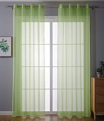 2er-Pack Ösen Gardinen Transparent Vorhang Set Wohnzimmer Voile Ösenvorhang Bleibandabschluß HxB 225x140 cm Apfelgrün, 203322