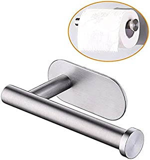 Self Adhesive Toilet Paper Holder, Kmeivol Portable Brushed Nickel Toilet Paper Holder, Wall Mounted Toilet Paper Holder with Rustproof Stainless Steel Brushed