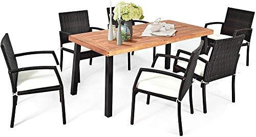 YRRA 7 Stück im Freien Esszimmer Set Acacia Holz Terrasse Esstisch mit 6 Guschened Rattan Armlehnenstühle Moderne Möbel Tisch Set mit 2.16'Regenschirmloch Für Hinterhof