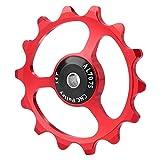 Demeras Rueda de guía Aleación de Aluminio Polea de Cambio Bicicleta Trasera GUB Ligero 14T Montaña(Rojo)