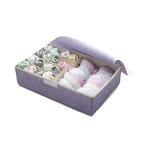 Caja de almacenamiento de ropa interior, caja de almacenamiento plegable de lino de algodón con tapa organizador de calcetines divisores de cajones organizador de ropa A-4