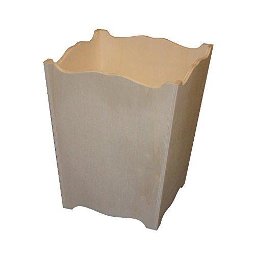 Griekse prullenbak van hout met golven. Ecru, om te beschilderen, afmetingen (B x D x H): 23 x 23 x 30 cm.