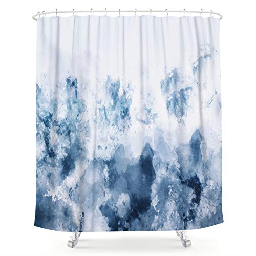 LIGHTINHOME Abstract Watercolor Blue Shower Curtain Silver Gray Cold White Modern Art Painting Fabric Waterproof Bathroom Home Decor Set 72x72 Inch 12 Plastic Hooks