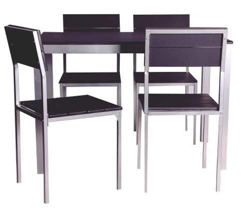 Abitti Conjunto de Mesa + sillas Xobe, para Comedor, Salon o Cocina en Color Negro y Gris, Tanto para sillas como Mesa, con una Resistente Estructura metálica