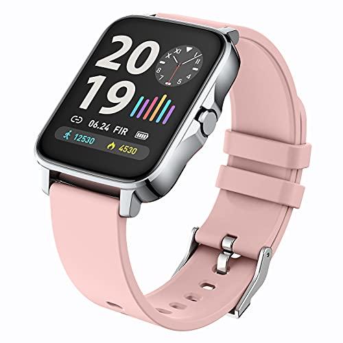 WSJZ Reloj Inteligente para Mujeres/Hombres,Pulsera Inteligente con Pantalla Táctil Completa De 1,69',Monitores De Actividad Física con Monitor De Frecuencia Cardíaca,para Teléfono Android/iOS,Rosado