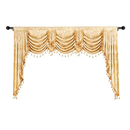 ELKCA Custom Made Valance for Living Room Golden Jacquard Swag Waterfall Valance (Waterfall Valance,Damask-Golden, W89)