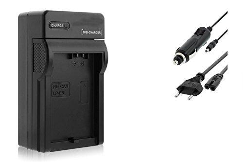 Ladegerät (KFZ, Netz) für Canon LP-E5 / EOS 450D, 500D, 1000D / Rebel T1i, XS, Xsi