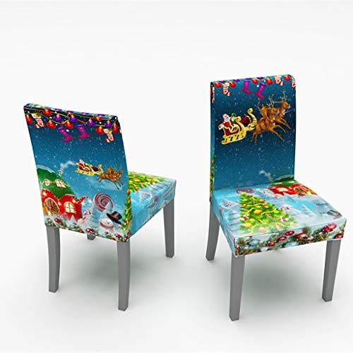 Sixcup 2 Stück Weihnachten Stuhlhussen Weihnachtsdeko,Universal Esszimmer Stuhl Elastische Beschützer Dining Stuhlhussen Stuhlabdeckung Stuhlbezug für Weihnachtstisch Dekoration (K)
