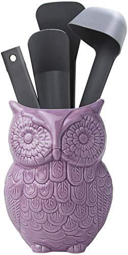 Eulen Utensilienhalter - Dekorativer Keramik Kochgeschirrhalter & Organizer - in schönem Violett - Utensilien Caddy und perfektes Küchenkeramikdekor Geschenk - 12.7cm x 17.8cm x 10.2cm Größe