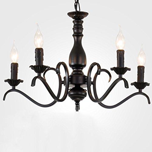 Spinna@kroonluchter – kaarslamp in industriële stijl kandelaar voor café, woonkamerlamp van smeedijzer (warm licht)