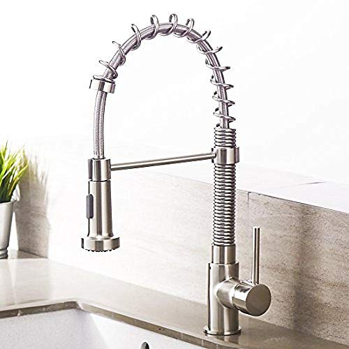 Tap Kitchen Extendable Tap Kitchen Mixer with Shower Mixer Tap Kitchen Mixer Spiral Spring Tap Brushed Nickel@Brushed nickel 2