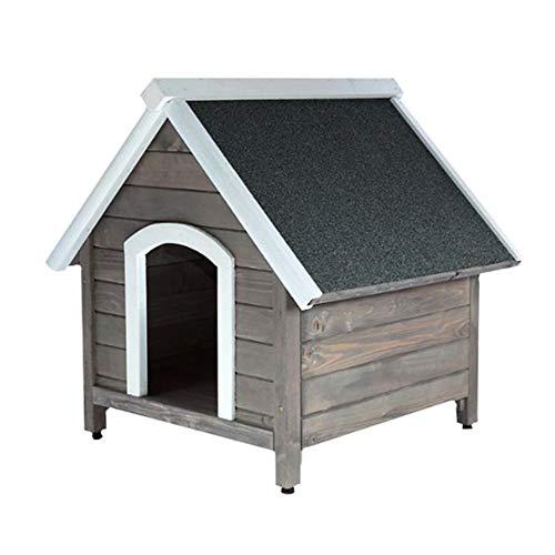 RM E-Commerce - Cuccia in legno massiccio, con tetto spiovente, colore grigio, per cani e gatti, esterno