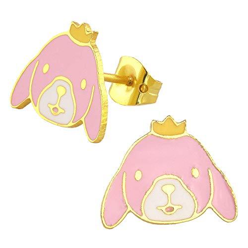 Monkimau, orecchini da donna a forma di coniglio, placcati in oro 18 carati, con corona