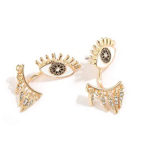 ZhcmyOhrringe Hypoallergen Fashion New Retro Glossy Gold Augen Voller Diamant Ohrstecker Weiblichen Halloween