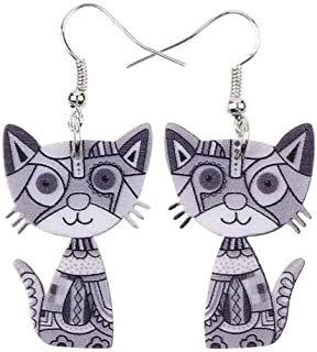 Drop Cat Earrings Acrylic Long Dangle Earring 2015 Fashion Jewelry For Women Girl New Style Cute Animal Accessories Size/Color : Brown