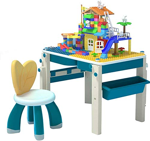 JIAFENG Children's Furniture 6 In 1 Building Game Table, Multifunctional Floor-Standing Drawing Board and Building Block Wall, Desk Dining Table Compatible With Learning Painting,Blue,B