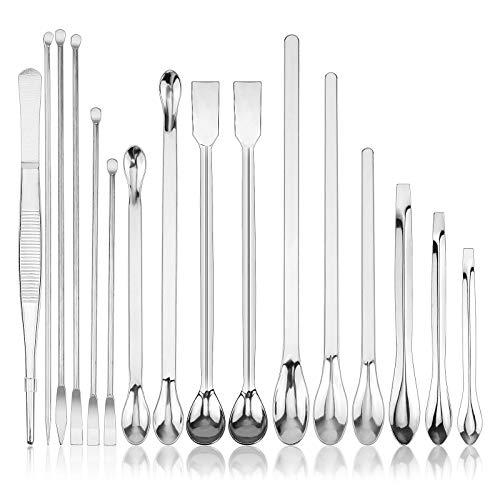 Meetory 16 piezas de espátulas de laboratorio de acero inoxidable Micro Scoop Pinzas Set de laboratorio Cuchara de muestreo para polvos