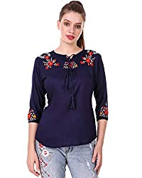 Elyraa Womens Embroidered Western Cotton Top (White top with 3/4 Sleeves)