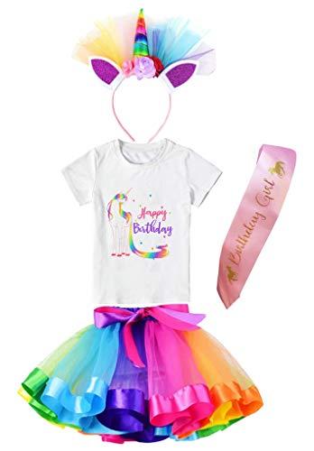 Falda tutú con capas para niñas con camiseta de unicornio, diadema y banda de satén (unicornio arco iris feliz cumpleaños, 7 – 8 años)