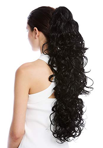 WIG ME UP - N1095-V-1 Haarteil Zopf Pferdeschwanz extrem lang und voluminös gelockt lockig schwarz 65 cm