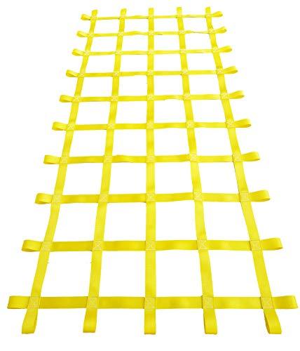 FONG 8 ft X 4 ft Climbing Cargo Net Yellow (96 inch x 48 inch) - Playground Cargo Net - Climbing Net for Swingset - Indoor Climbing Net - Climbing Ladder