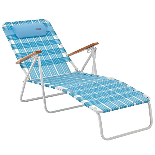 #WEJOY 5 Adjustable Folding Webbing Beach Chaise Lounge...