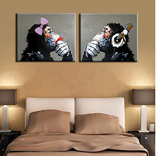 wydlb Wohnkultur Wandkunst Schwarz Gorilla Schimpanse Bilder, Cartoon AFFE Malerei Abstrakte Tiergemälde Auf Leinwand 40x60 cm x 2 stück Kein Rahmen