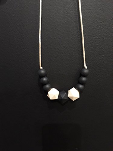 Collier de Portage et d'allaitement, anneau de dentition noir et beige