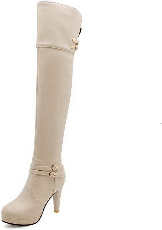 AN Womens Metal Buckles Spikes Stilettos Platform Urethane Boots DKU02528