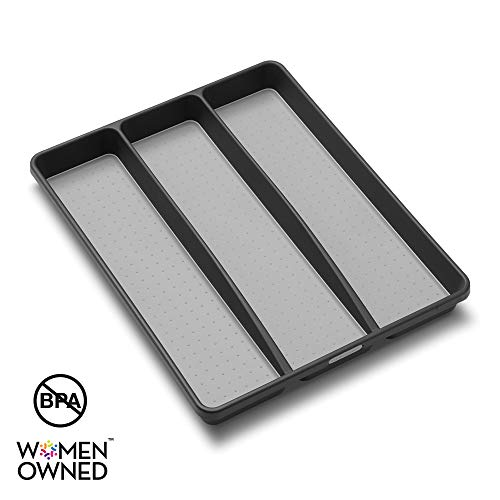 madesmart Classic Utensil Tray  Granite | CLASSIC COLLECTION | 3Compartments | Kitchen Organizer | Nonslip Lining and Rubber Feet | Easy to Clean | BPAFree