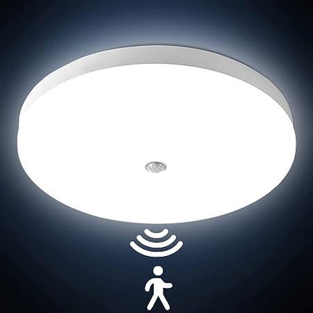 Lampes de Plafond avec détecteur de mouvement 30W 3000LM Plafonnier LED Rond Ultra-mince LED Lampe Imperméable IP56 Luminaire Intérieur Parfait pour Chambre Cuisine Balcon Couloir Ø25cm