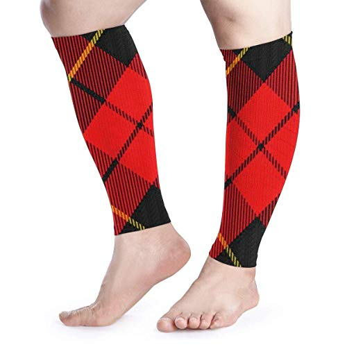 zsxaaasdf Scots Style Clan Wallace Tartan Plaid Cool Running Home Workout Sport Gym Gear Accessories Calf Compression Sleeve Leg Jobs Running Half Foot Guard Protective Supports Guards