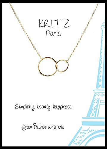 Kritz - Collar con anillos entrelazados para mujer, colgante con dos círculos, chapado en oro, cadena ajustable según las necesidades de la colección Kritz París los esenciales de la moda para ella