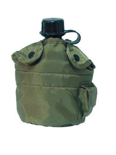 Gourde américaine style armée avec housse en tissu d'extérieur bouteille 0,8 l en différentes couleurs Vert Vert olive
