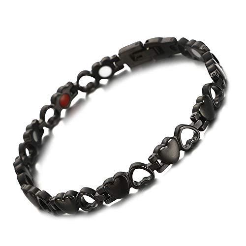 CCFCF magnetische armband voor dames, roestvrij staal, magnetische armband, met magneten, holle liefde, hart-stijl