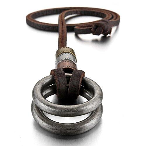 MunkiMix Aleación Genuina Cuero Colgante Collar El Tono De Plata Doble Anillo Ring Ajustable 16~26 Pulgada Cadena Hombre,Cadena
