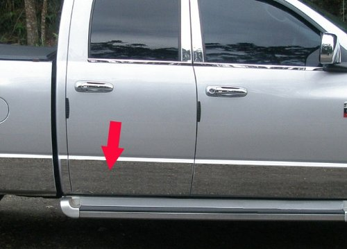 "Made in USA! Works with 1994-1997 Dodge Ram Extended Cab Long Bed Rocker Panel Chrome Stainless Steel Body Side Moulding Molding Trim Cover 8.5"" Wide 12PC"