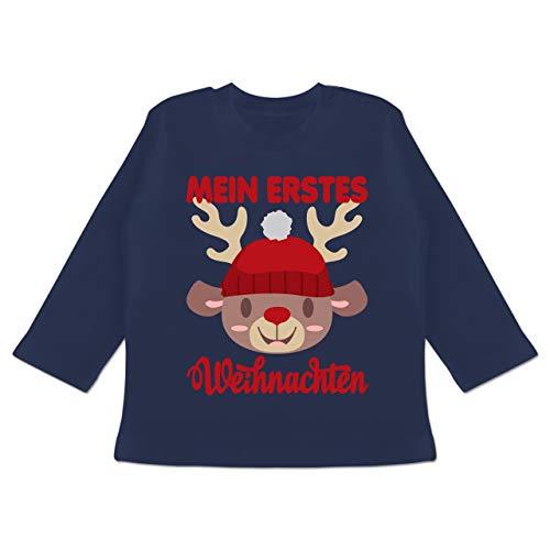 Weihnachten Baby - Mein erstes Weihnachten mit Rentier - 3/6 Monate - Navy Blau - Mein erstes Weihnachten Langarm - BZ11 - Baby T-Shirt Langarm