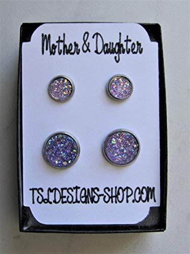Mommy & Me Druzy Stud Earrings, Mother & Daughter Light Purple Sparkle Matching Earrings, Great for Newly Pierced Ears