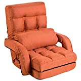 FLOGUOR 42-Position Adjustable Floor Chaise Lounge Sofa, Folding Lazy Sofa with Armrests and a Pillow Padded Gaming Chair for Living Room, Bedroom Factory Price (Orange) 8803OR
