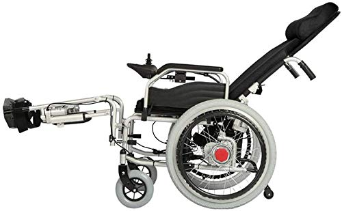 XBSLJ Electric Wheelchairs, Folding Wheelchair Rubber Tyre Wheel Four-Wheel for Elderly Handicapped Disabled Users Indoor and Outdoor Use
