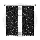 Deconovo Cortina con Estrellas Plateadas Térmica Aislante Cortinas Modernas para Dormitorio Salón Habitación 117 x 138 cm Negro 1 Par