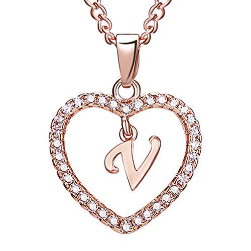 Guangcailun 26 Forma del Collar del Rhinestone de Rose de Oro joyería de la Cadena de clavícula Regalo de los Pares V Cartas del corazón