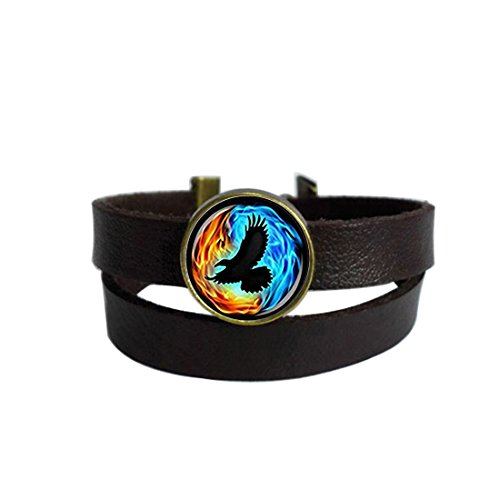 Twin Flames With Raven Dark Brown Leather Charm Bracelet Keychain Round Glass Cabochon Dome Pendant Stainless Steel Metal Handmade Wrap Around Wristband Bangle for Women Men Best Friend