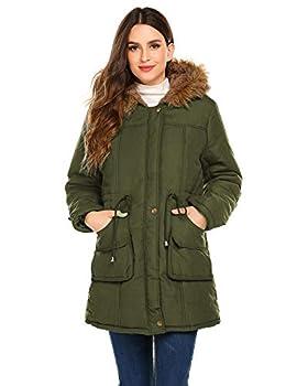 Meaneor Women s Hooded Warm Winter Faux Fur Lined Parkas Long Coats Jacket Overcoat Fleece Outwear with Drawstring Army Green