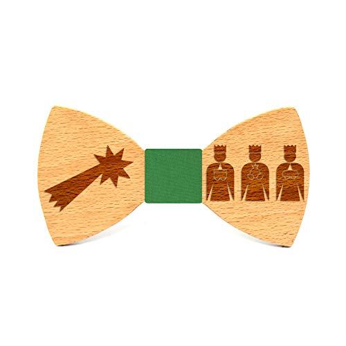 Territorial Pajarita de madera Reyes Magos. Colección de moda hombre: línea boda y eventos. Diseño de Navidad. Confeccionada a mano en España. Regalo vegano, elegante y original