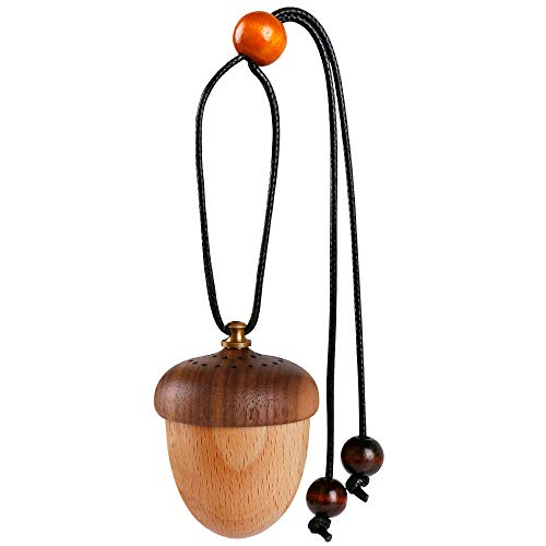 Maromalife Essential Oil Car Diffuser Decor Cute Car Diffuser for Rear View Mirror Hanging Ornament Aromatherapy Perfume Bottle Car Decoration(Wooden Acorn)
